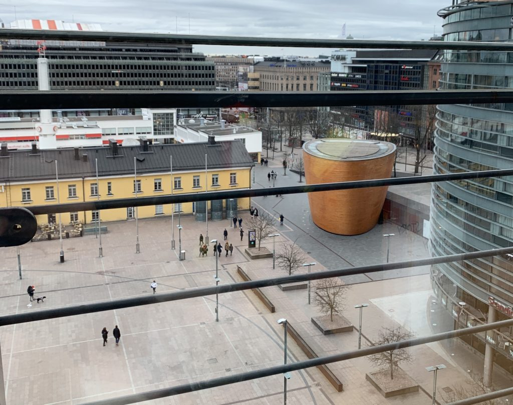 Photo of Kamppi Chapel (elevated from nearby shopping mall).