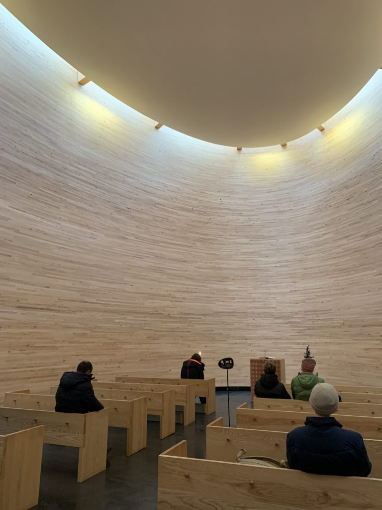 Photo of inside Kamppi Chapel.