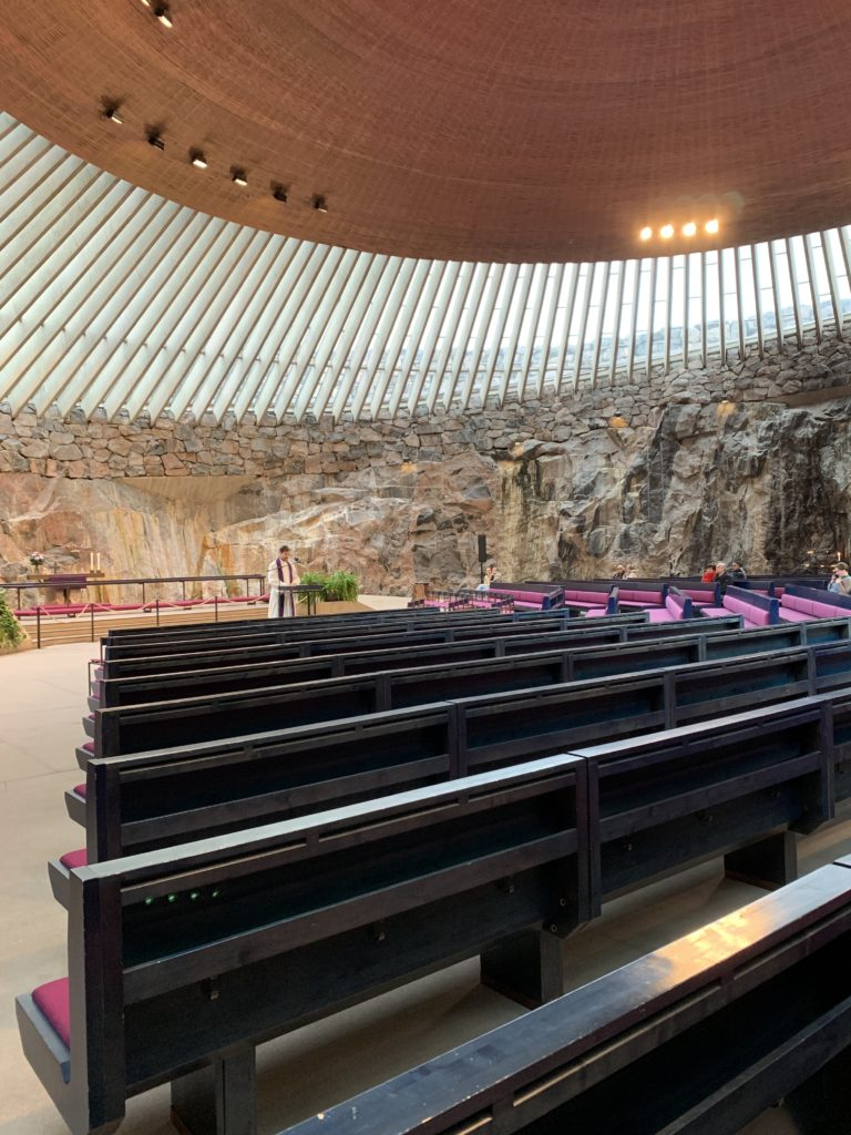Photo inside Temppeliaukio Church.