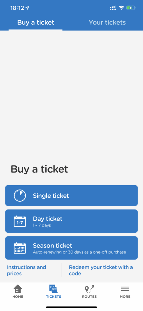 Screenshot of the buy a ticket screen in the Helsinki HSL app.